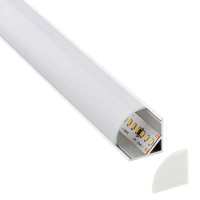 KIT - Perfil aluminio KORK-mini para tiras LED, 2 metros, blanco