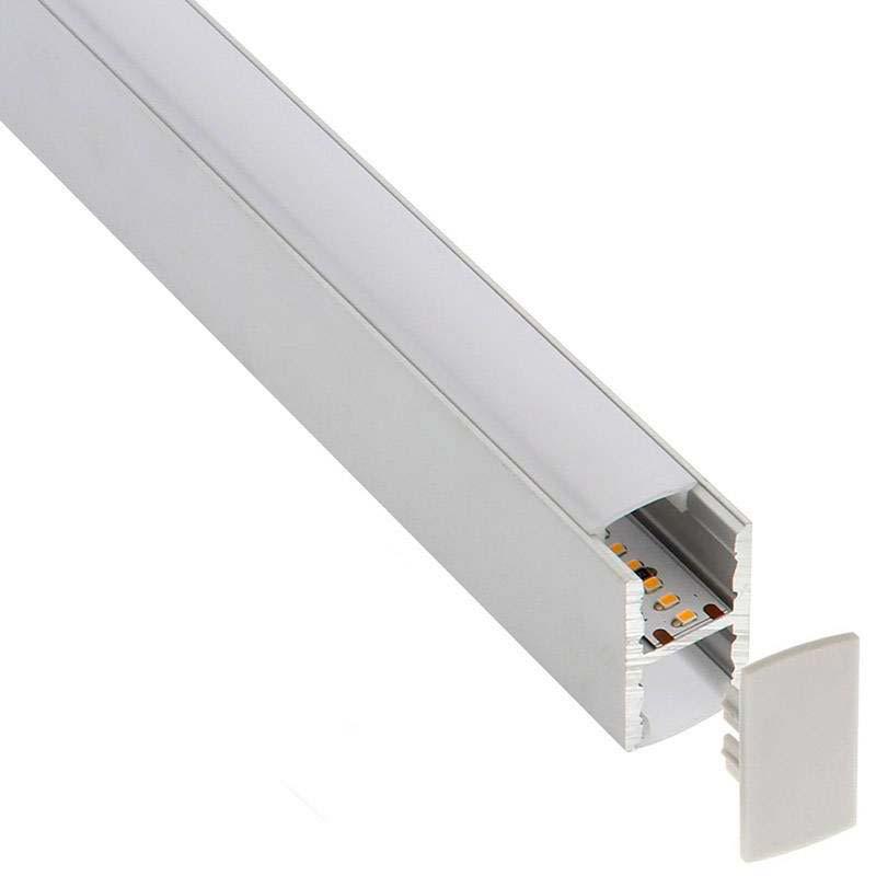 KIT - Perfil aluminio KEN para tiras LED, 2 metros