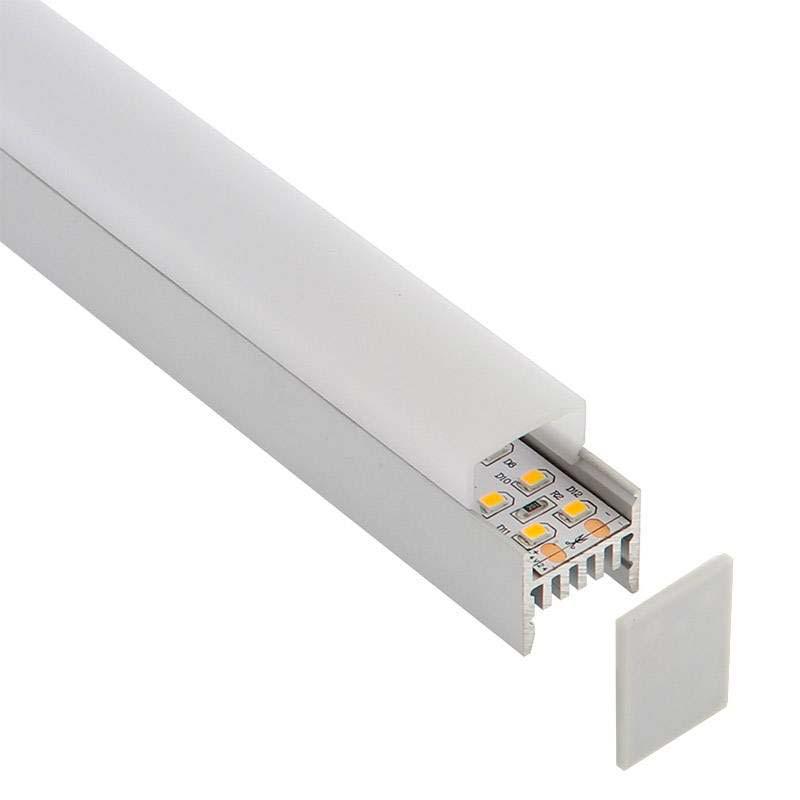 KIT - Perfil aluminio GURKEN para tiras LED, 2 metros