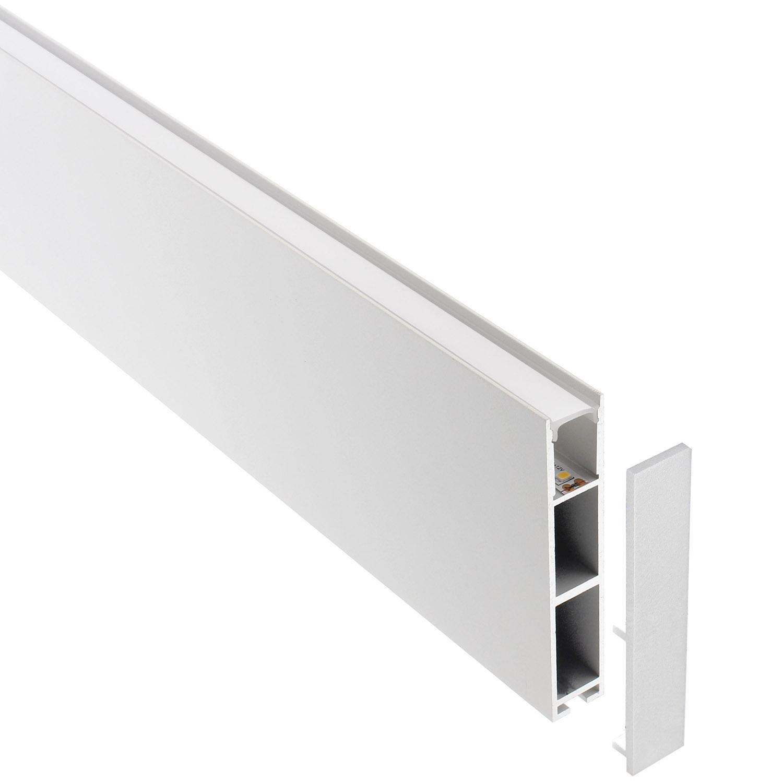 Perfil aluminio PHANTER S1 para fitas LED, 1 metro, branco