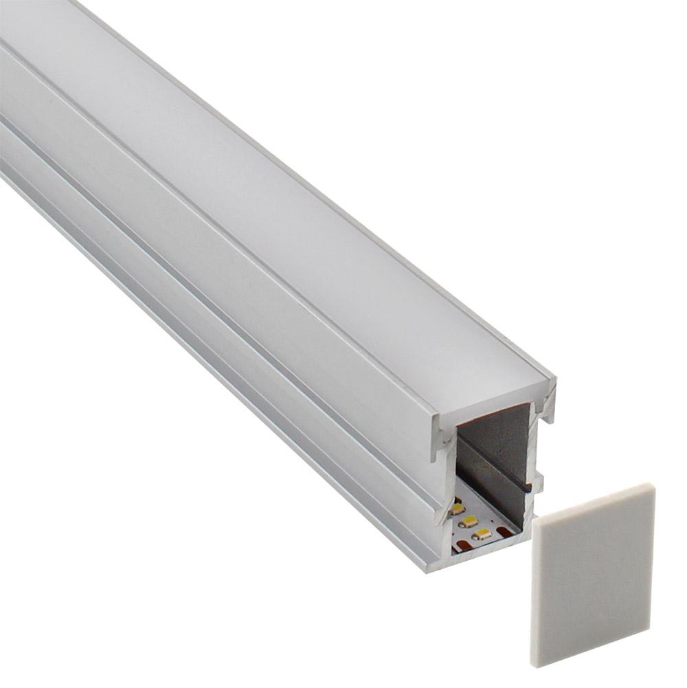 KIT - Perfil aluminio FOOT STEP para fitas LED, 2 metros