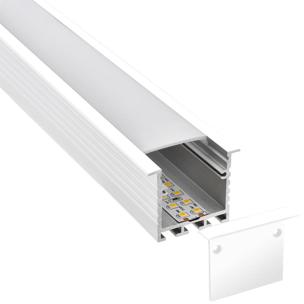 KIT - Perfil aluminio TEITO para tiras LED, 2 metros, blanco