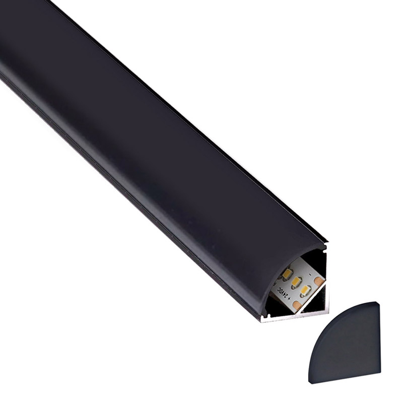 KIT - Perfil aluminio KORK-mini para tiras LED, 1 metro, negro