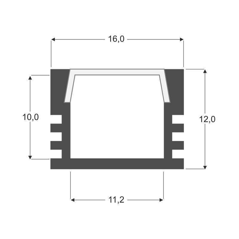 Perfil aluminio CAMBEL para tiras LED, 2 metros