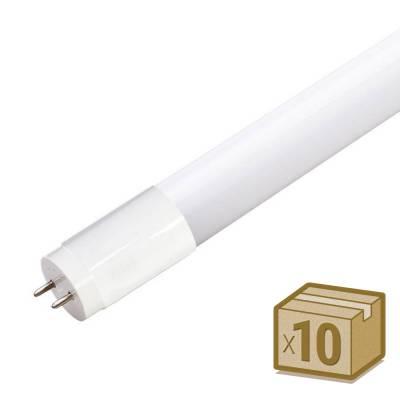Pack 10 Tubos LED T8 SMD2835 Epistar Cristal - 18W - 120cm, Conexión dos Laterales, Blanco cálido