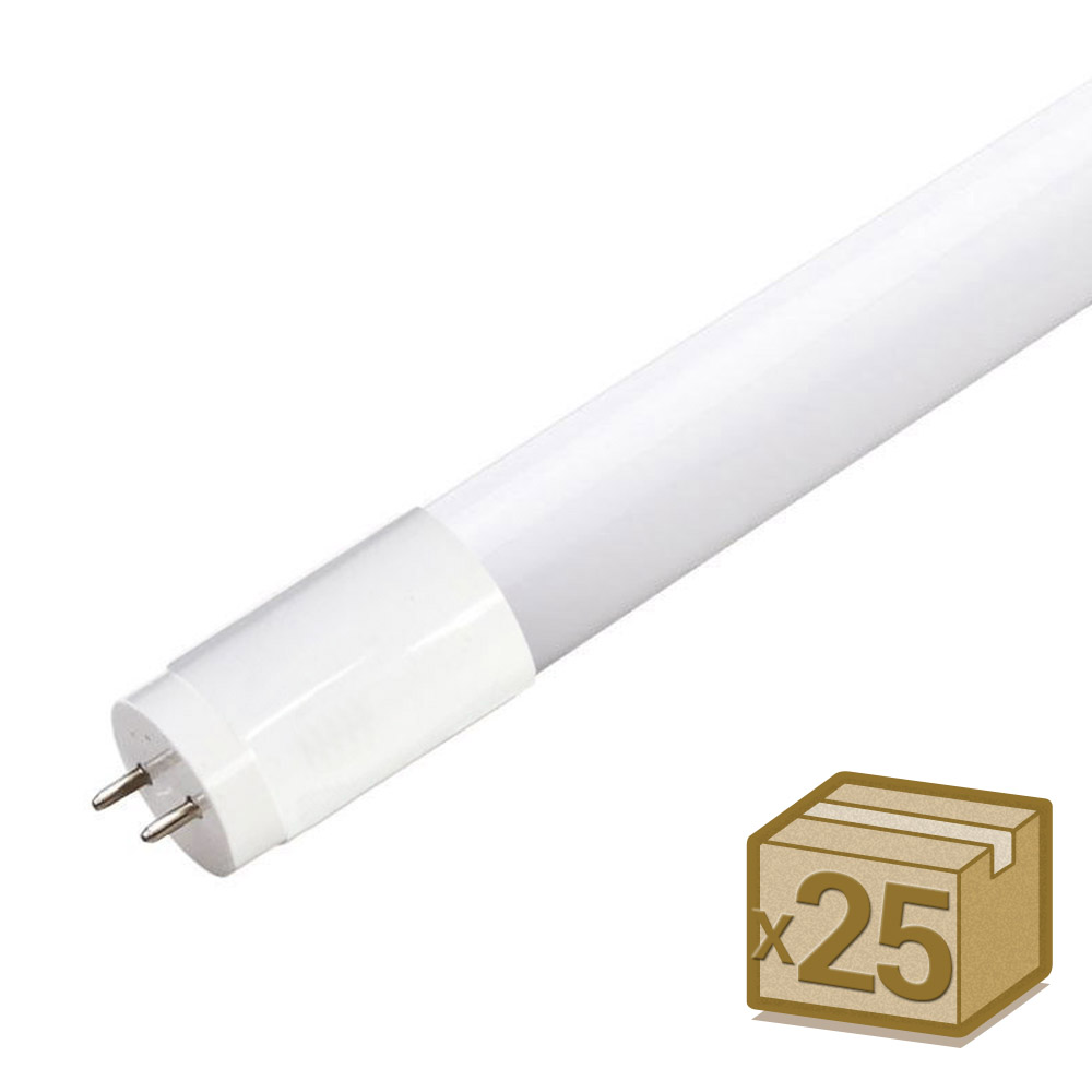 Pack 25 Tubos LED T8 SMD2835 Cristal - 9W - 60cm, Conexión dos Laterales