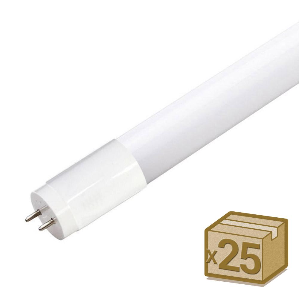 Pack 25 Tubos LED T8 SMD2835 Epistar Cristal - 18W - 120cm, Conexión dos Laterales