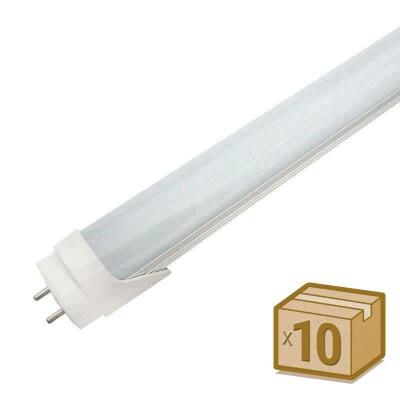 Pack 10 Tubos LED T8 SMD2835 Epistar - Aluminio - 18W - 120cm, Conexión dos Laterales, Blanco cálido