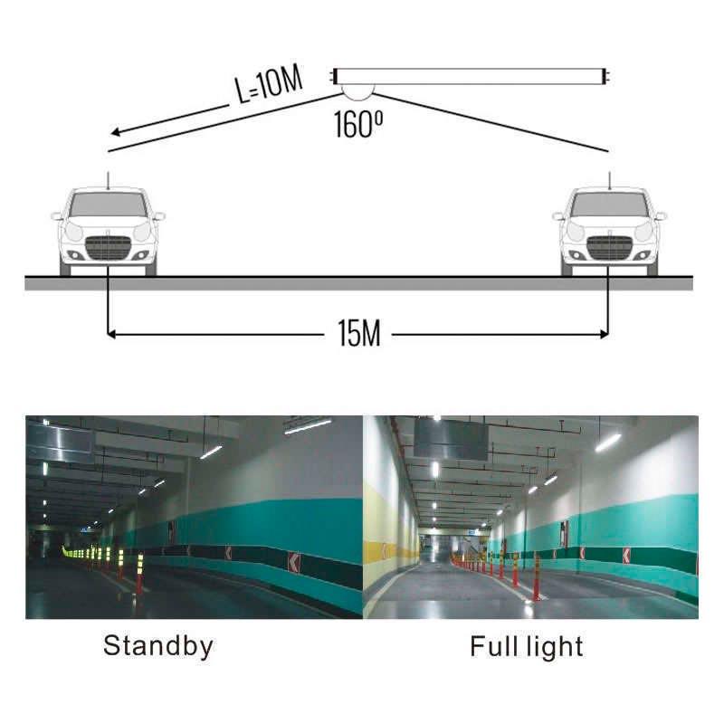 Tubo LED T8 con Sensor Radar de presencia, 22W, 150cm, 20-100%