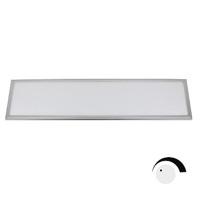 Panel 50W, ChipLed Samsung + TUV driver, 30x120cm, 0-10V regulable, silver, Blanco cálido, Regulable