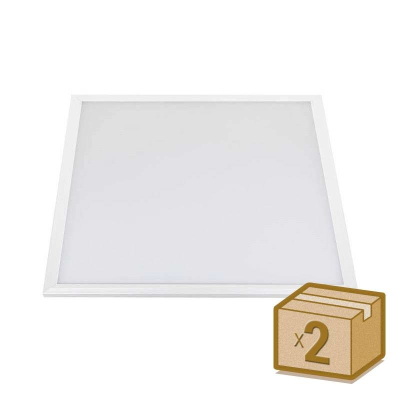 Pack 2 x Panel LED 40W + TUV driver, 60x60 cm, marco blanco, Blanco frío