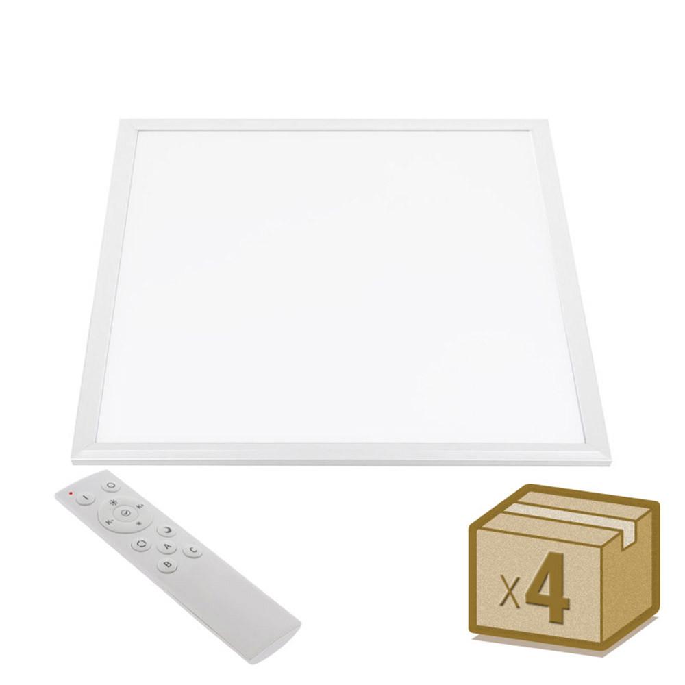 Pack 4 x Painel LED 45W, Branco DUAL, RF, 60x60cm, Branco dual, Regulable