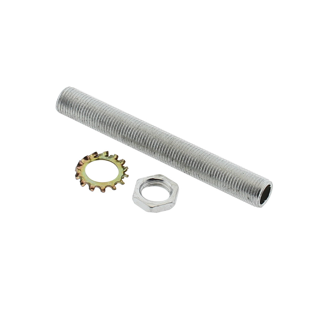 Tornillo hueco para base E27, 80mm, tuerca