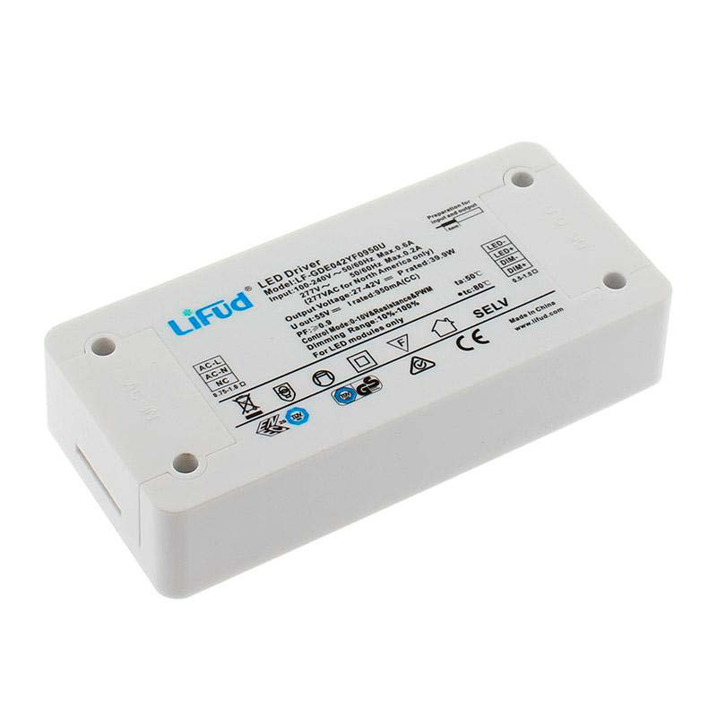 LED Driver LIFUD DC27-42V/40W/950mA, Regulable 0-10V