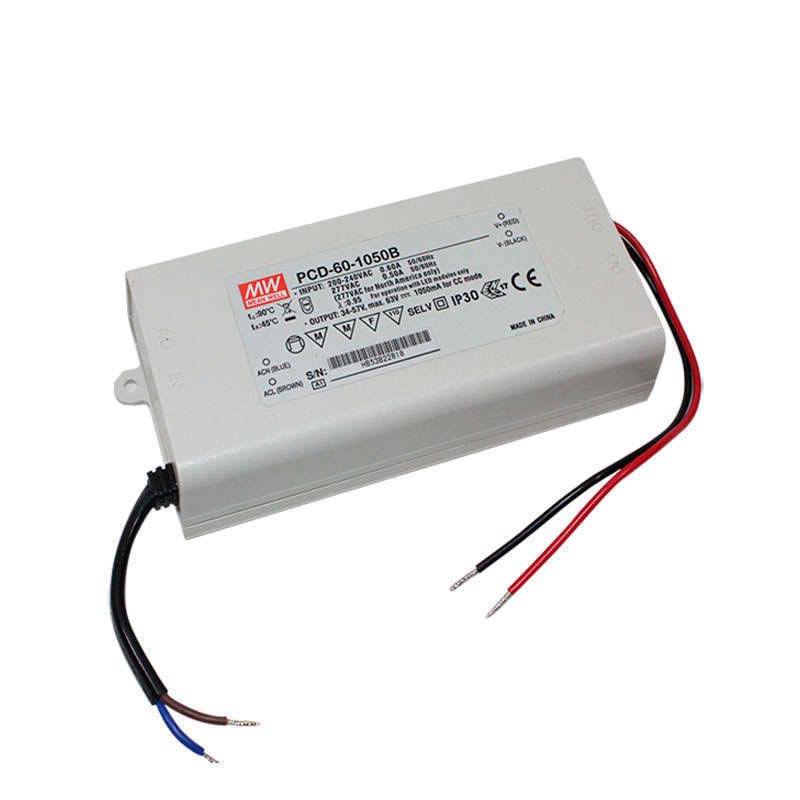 LED Driver MEAN WELL PCD-60-1050B, DC34-57V/50W/1050mA, Regulable