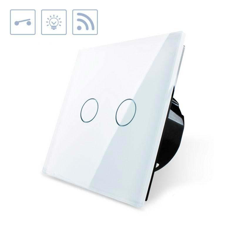 Interruptor táctil duplo + remoto, frontal branco