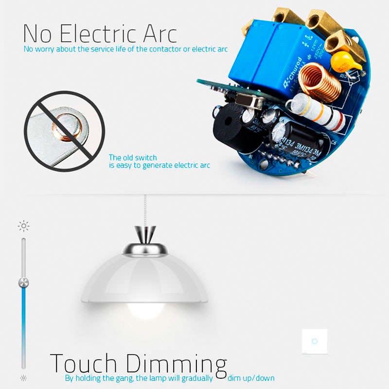 Interruptor t ctil con regulador triac dimmer remoto for Interruptor regulador de luz