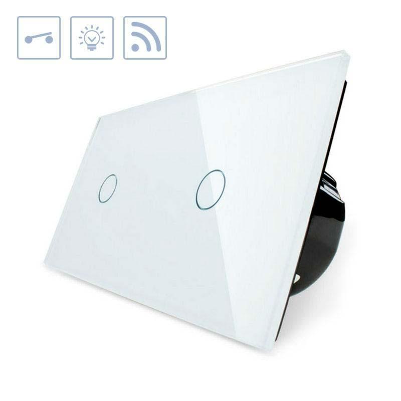 Interruptor táctil + remoto, 2 botões, frontal branco