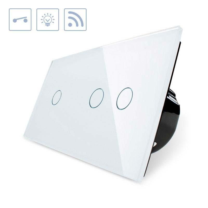 Interruptor 2 modulos táctil + remoto, 3 botões, frontal branco