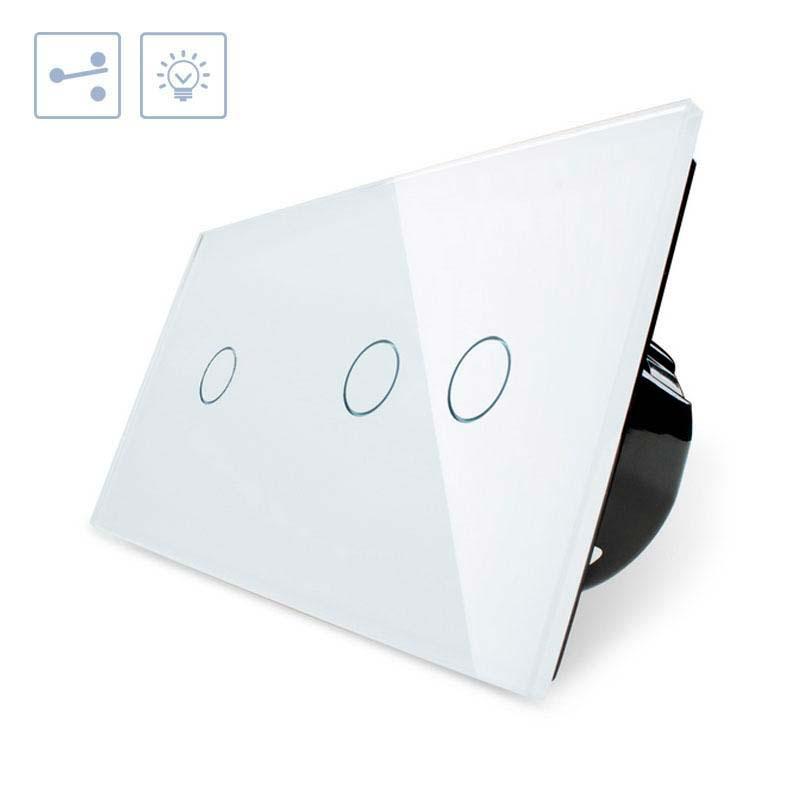 Conmutador 2 módulos táctil, 3 botones, frontal blanco