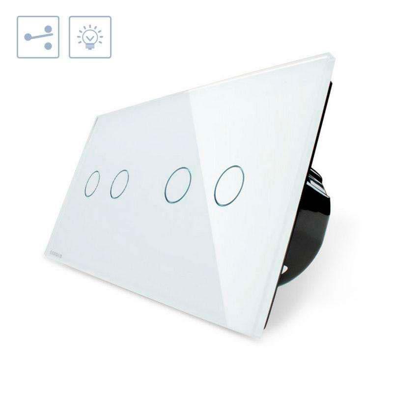 Comutador táctil, 4 botões, frontal branco