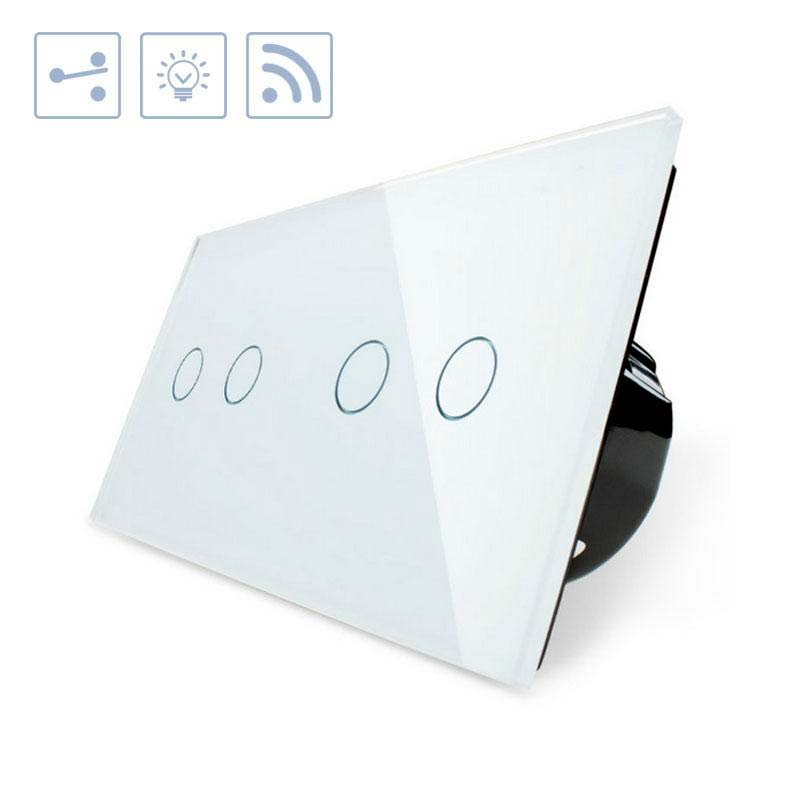 Comutador táctil + remoto, 4 botões, frontal branco