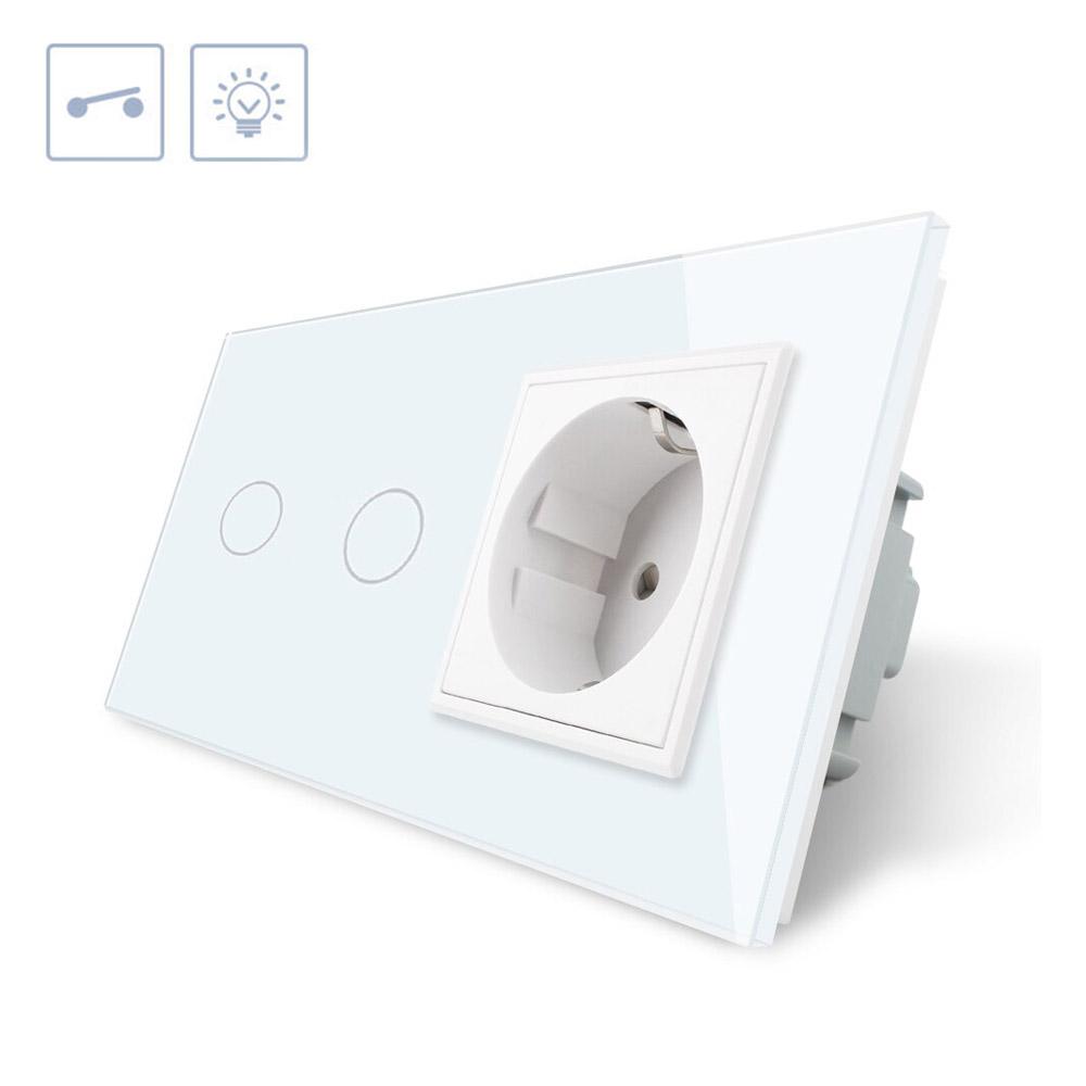 Interruptor táctil, 2 botones + 1 enchufe, frontal blanco