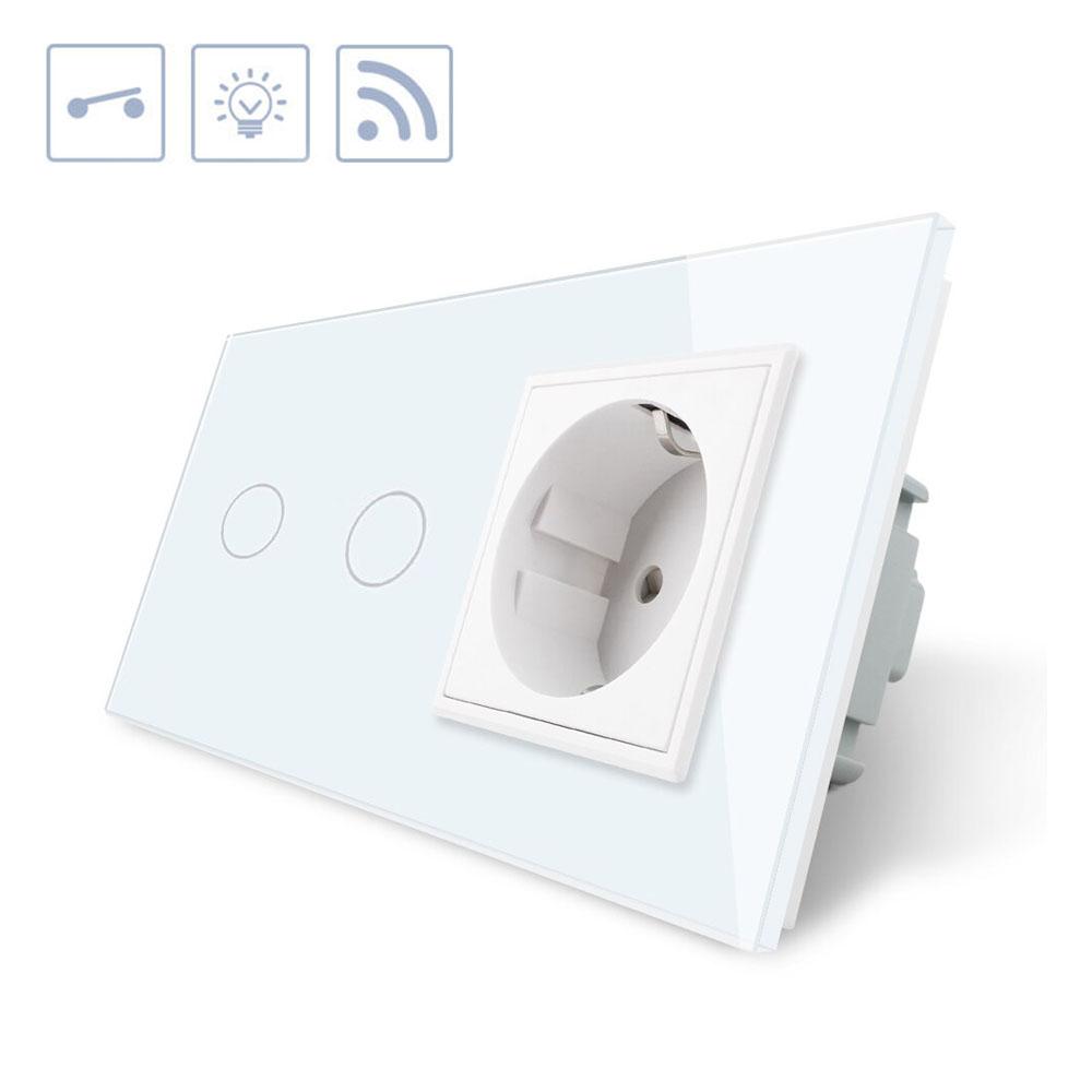 Interruptor táctil, 2 botones + 1 enchufe, frontal blanco + remoto