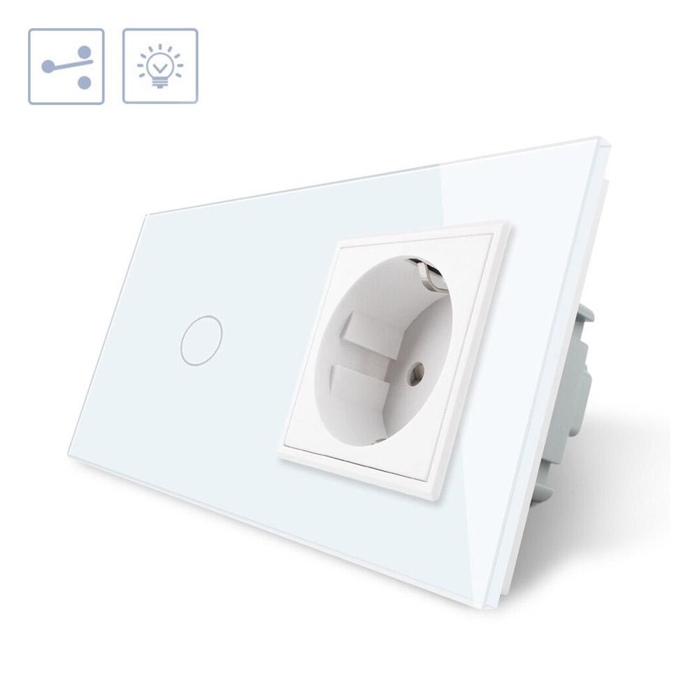 Conmutador táctil, 1 boton + 1 enchufe, frontal blanco