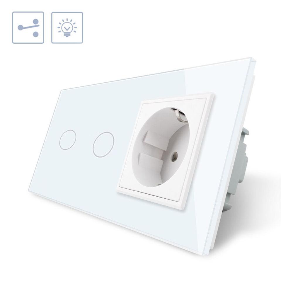 Conmutador táctil, 2 botones + 1 enchufe, frontal blanco