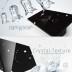 Interruptor 2 módulos táctil + remoto, 3 botones, frontal negro