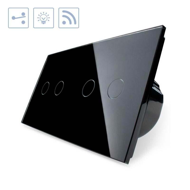Comutador táctil + remoto, 4 botões, frontal preto