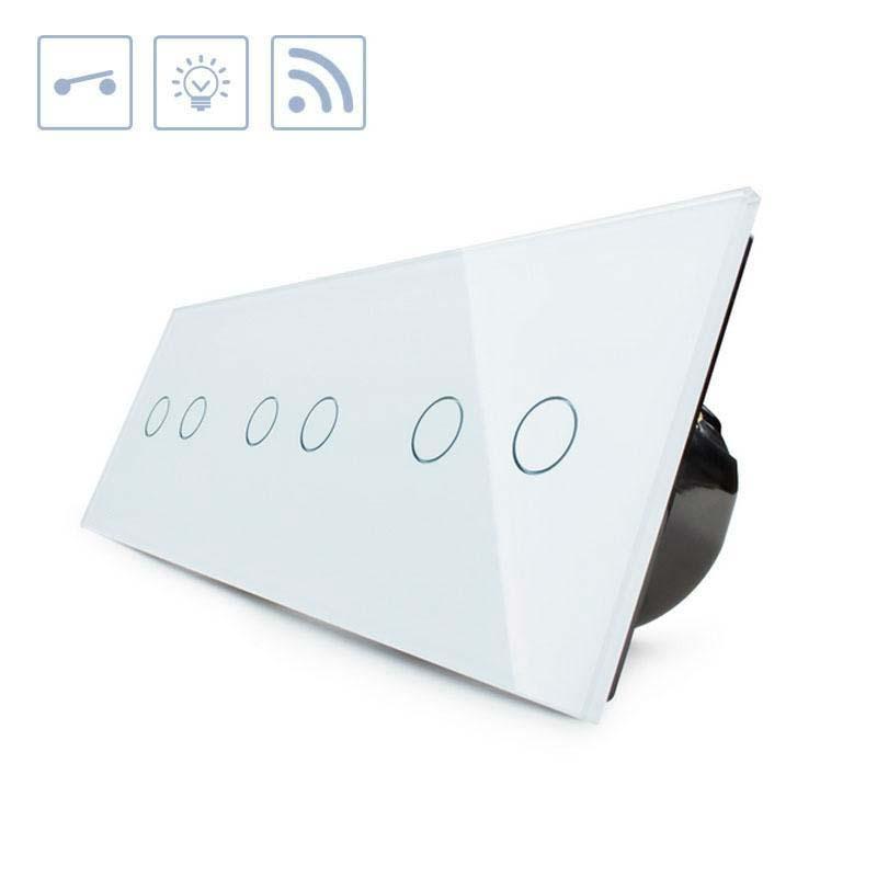 Interruptor táctil + remoto, 6 botones, frontal blanco