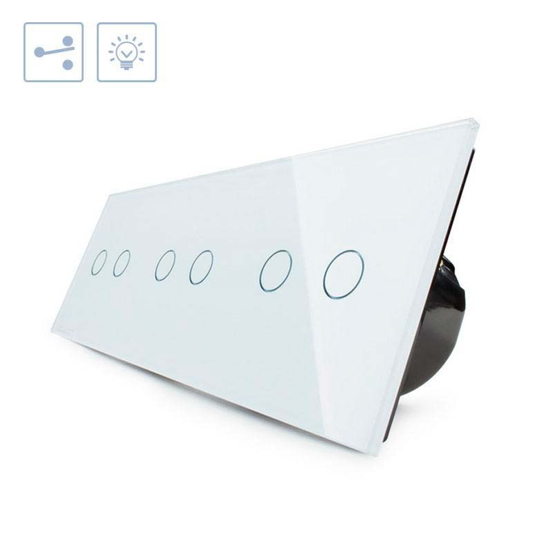 Conmutador táctil, 6 botones, frontal blanco