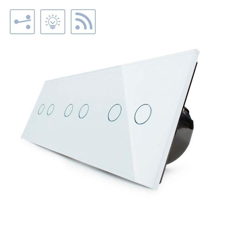 Conmutador táctil + remoto, 6 botones, frontal blanco
