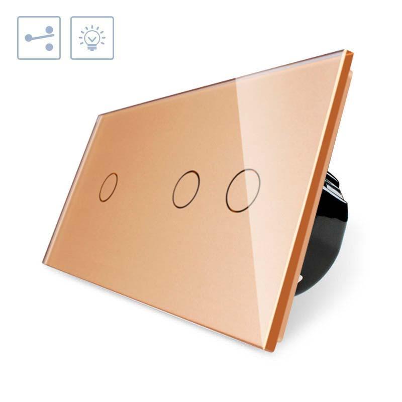 Comutador 2 modulos táctil, 3 botões, frontal golden