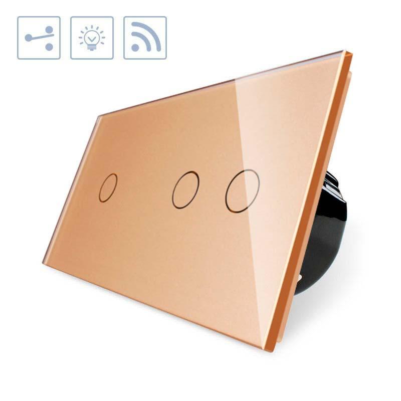 Comutador táctil + remoto, 3 botões, frontal golden