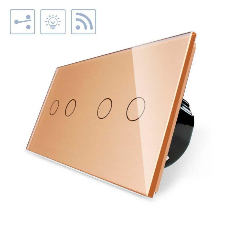 Comutador táctil + remoto, 4 botões, frontal golden