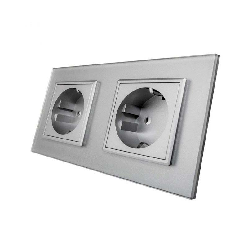 Enchufe Socket doble EU 16A, frontal gris