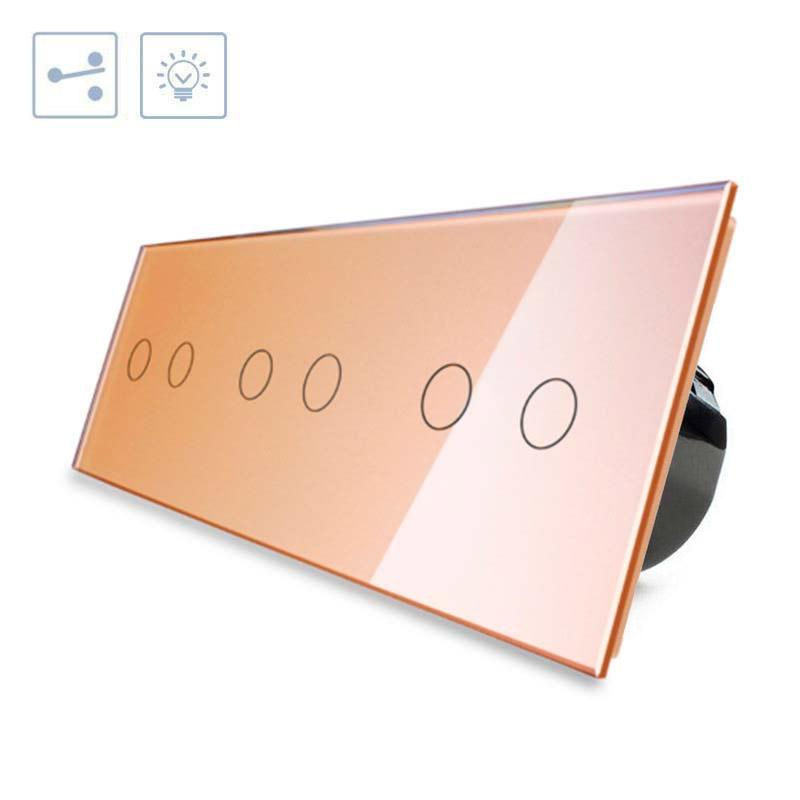 Conmutador táctil, 6 botones, frontal golden