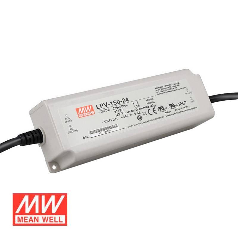 Fonte de alimentação IP67, DC24V/150W/6,24A Mean Well LPV-150-24