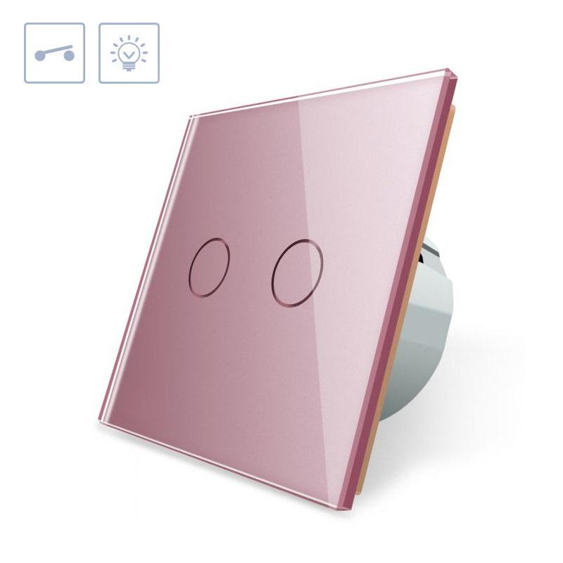 Interruptor táctil doble, frontal rosa