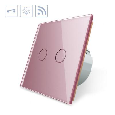 Interruptor táctil doble + remoto, frontal rosa