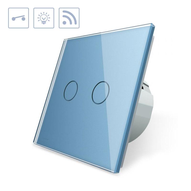 Interruptor táctil doble + remoto, frontal azul