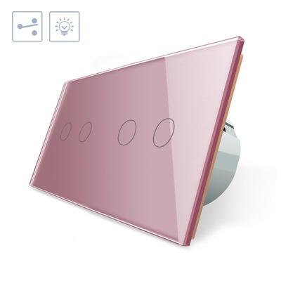 Conmutador táctil, 4 botones, frontal rosa