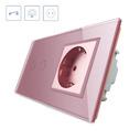 Interruptor táctil, 2 botones + 1 enchufe, frontal rosa
