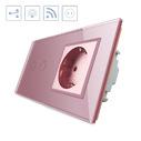 Conmutador táctil, 2 botones + 1 enchufe, frontal rosa + remoto