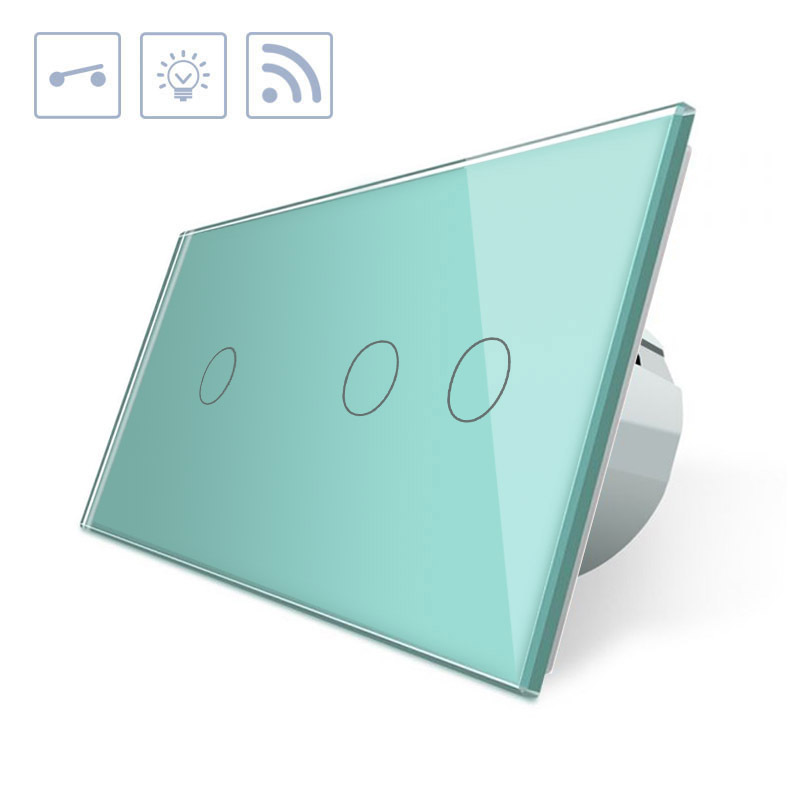 Interruptor 2 módulos táctil + remoto, 3 botones, frontal verde