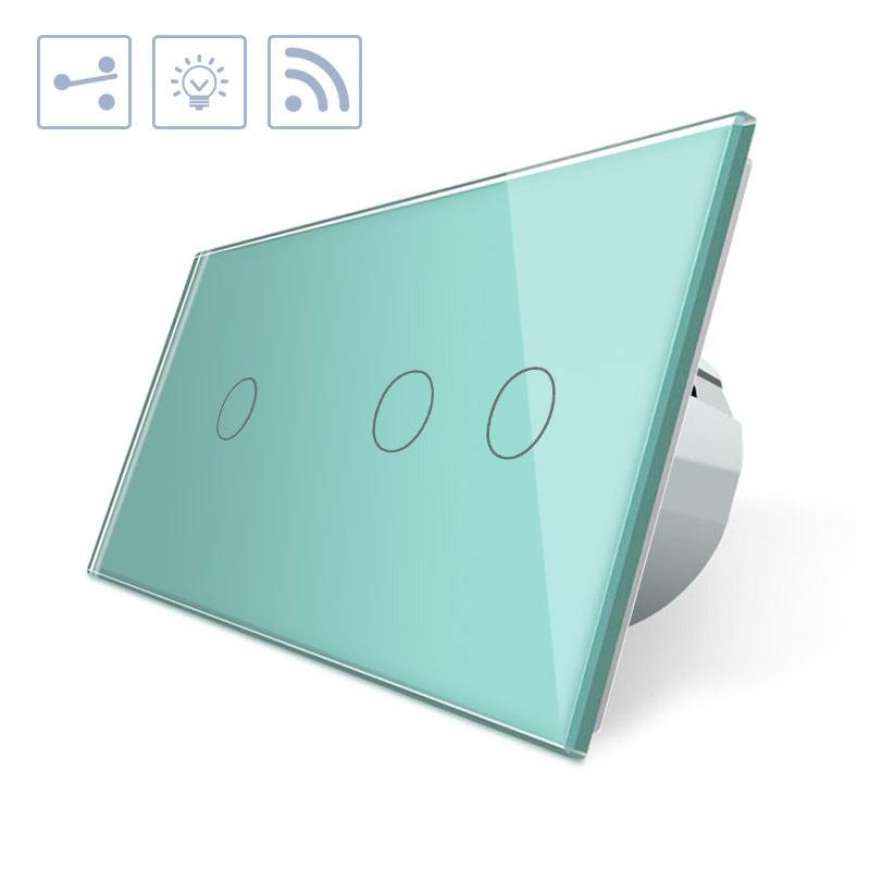 Conmutador táctil + remoto, 3 botones, frontal verde