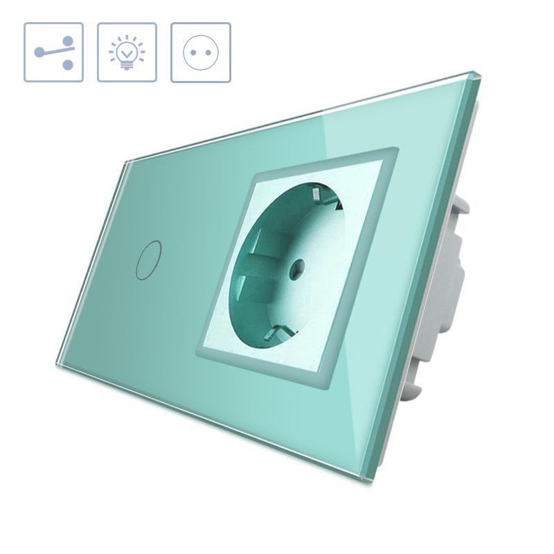 Conmutador táctil, 1 boton + 1 enchufe, frontal verde